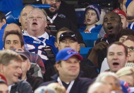 Embattled Toronto Mayor Rob Ford was in attendance, wearing a replica jersey of the Bills' Fred Jackson.